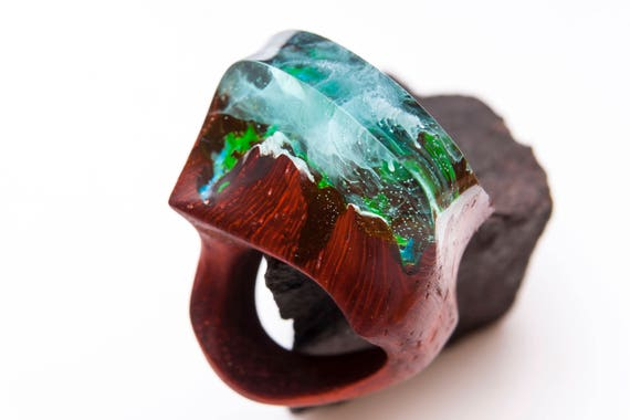 Avatar wooden resin ring Eco epoxy jewelry Green Wood the secret of the magical world in a tiny landscape in every decoration