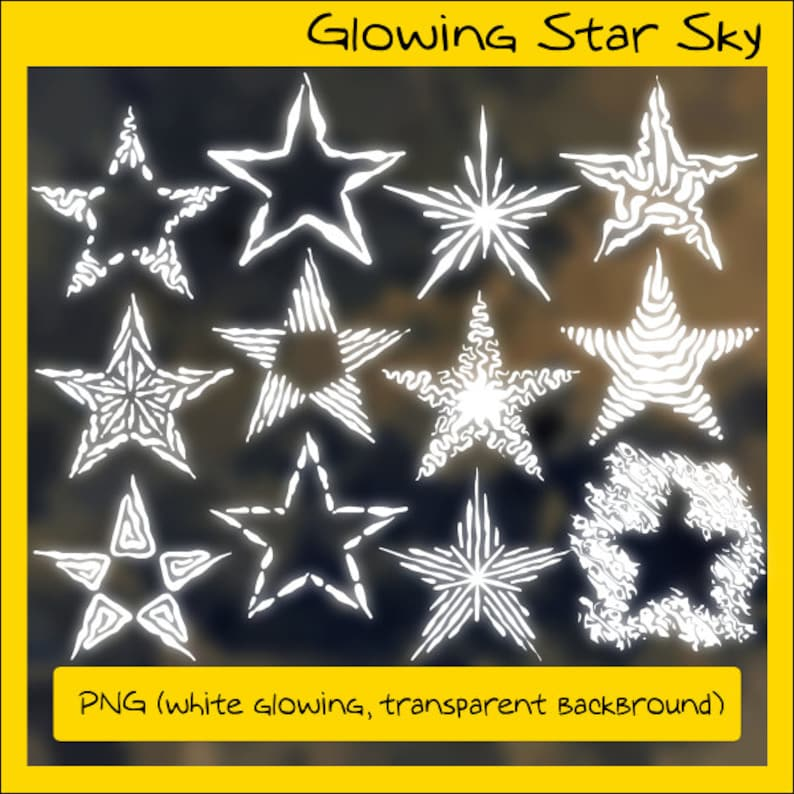 Star Sky Clip Art Set,12 different designed Stars in black and white,  INSTANT DOWNLOAD, Commercial & Personal Use, Pixel and Vector Graphics