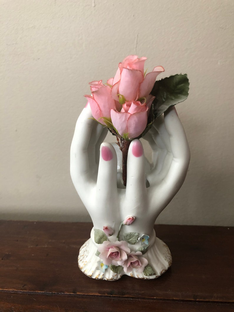Vintage Lefton feminine hands vase  Lovely and graceful collectable  figurine  Pretty rose detail at the wrist
