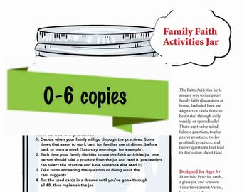 Family Faith Jar Printable -- Personal Use