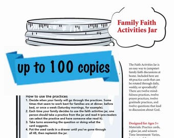 Family Faith Jar Printable -- Small Classroom or Church Use (up to 50 copies)