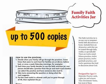 Family Faith Jar Printable - Medium/Large Church & School Use - Up to 100 Copies
