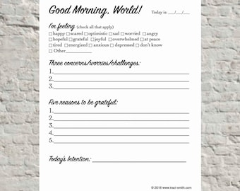 Good Morning, World! (Morning journal printable)