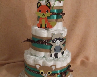 3 Tier Diaper Cake Woodland Foxey Fox Friends Forest Animals Baby Shower Centerpiece