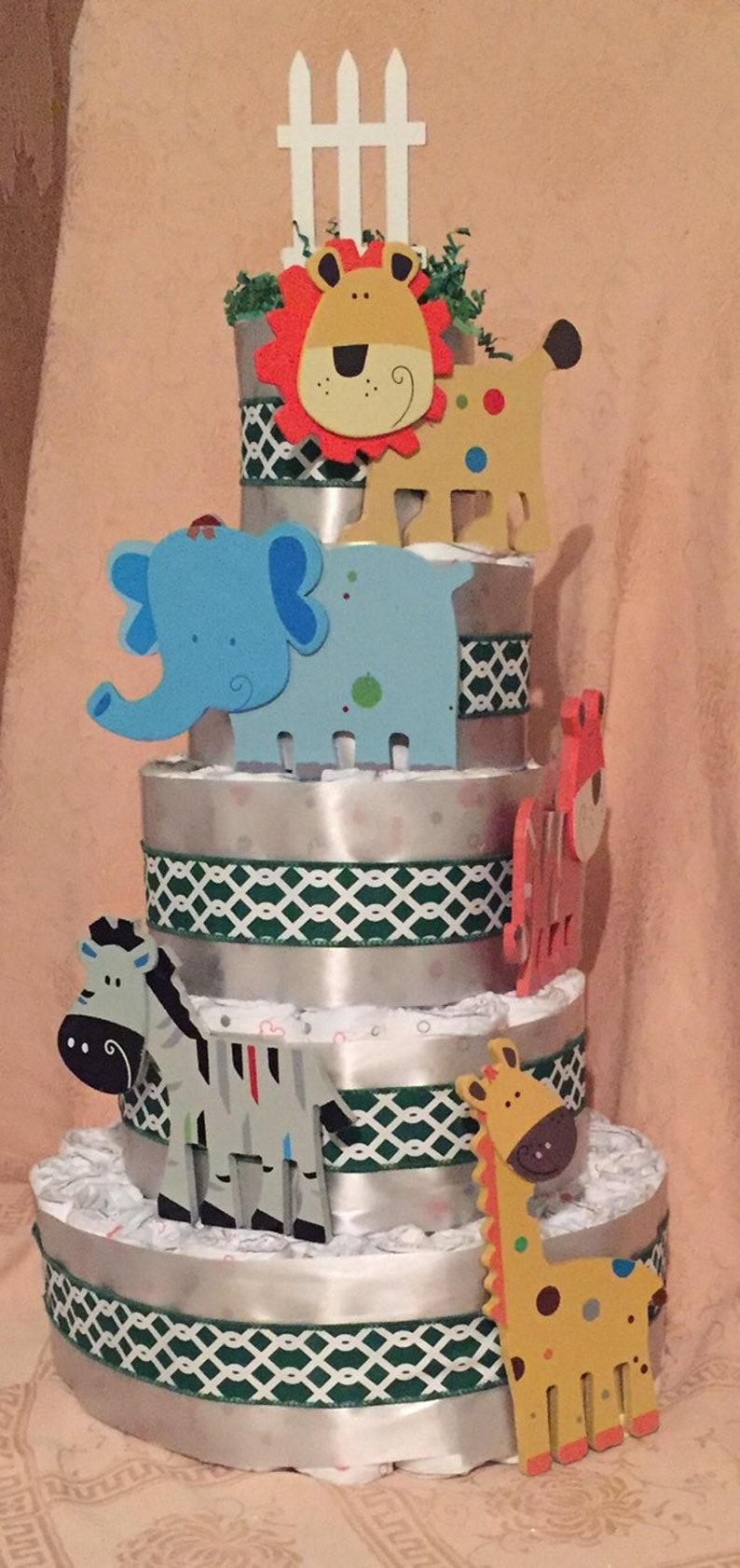 5 Tier Extra Large Jungle Zoo Animals Diaper Cake