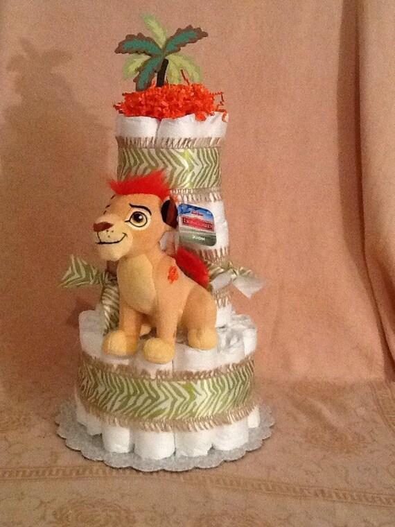 Lion Roi Lion garde le gâteau de couches pour bébé douche pièce maîtresse