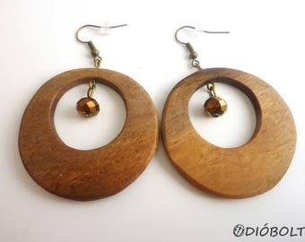 Giant walnutwood hoop earrings