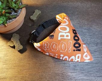 Over the Collar Orange With Boo Words  Gift for Pets  Slip on Bandana - Halloween Dog  Cat Bandana