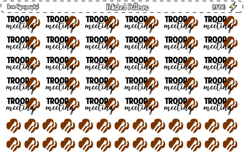 Brownie Scouts Troop Meeting Icon Typography Planner Stickers Etsy