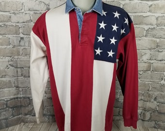 74d1dc4d Vintage Tommy Hilfiger Mens American Flag Rugby Shirt XL ~ Large Spellout ~  90s Rap Hip Hop Streetwear ~ Colorblocked ~ Iconic ~ Rare