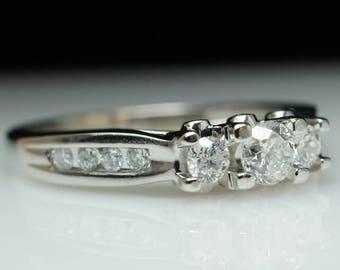 Vintage Diamond Three Stone Engagement Ring 14k White Gold three stone diamond ring vintage ring three stone ring vintage white gold ring