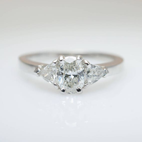 3 Stein Oval Diamant Verlobungsring 14k White Gold Drei Etsy