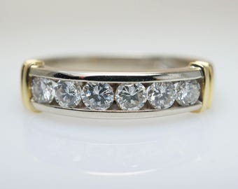 Vintage Diamond Anniversary Band in 14k White & Yellow Gold multi stone 0.5ct