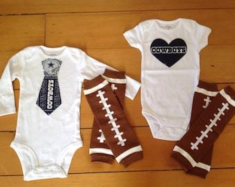 Cowboys baby girl or boy! Baby Bodysuit set for little Dallas Cowboys fan. Cowboys baby girl Cowboys baby boy. Baby shower gift idea.