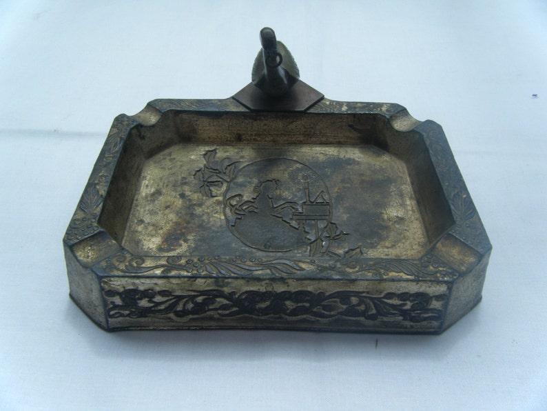 Original Vintage Metal Tray Good Collectible Rare Piece #152 1950s Antique Bird Old Ash Tray