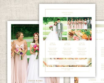 Wedding Photography Pricing Template - Photo Marketing Design Template for Photographers - A La Carte Pricing Guide, INSTANT DOWNLOAD