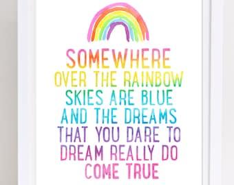 Somewhere Over the Rainbow, Printable Wall Art, Judy Garland Lyrics, Wizard of Oz Print, Dorothy Print, Wizard of Oz Lyrics, Playroom Poster