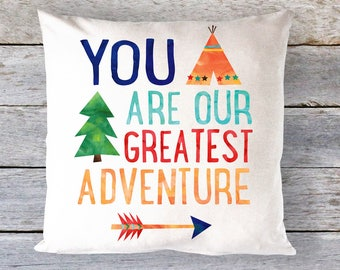 Adventure Nursery, You Are Our Greatest Adventure Pillow, Boys Nursery Pillow, Kids Room Decor, Arrow Pillow, Rustic Nursery, Boys Room