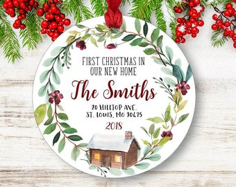 New Home Christmas Ornament Personalized First Housewarming Gift Realtor Family