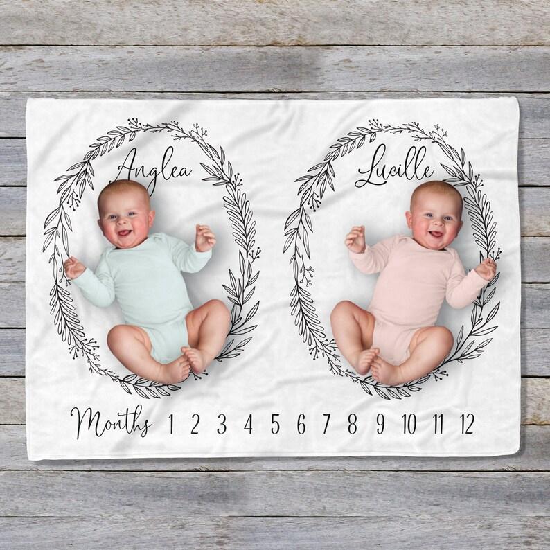 7fba2b7c9 Twin Milestone Blanket Gift for Twins Baby Photo Prop | Etsy