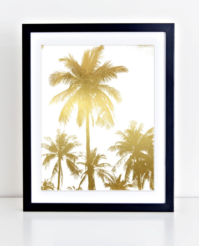 Palm Tree Print Palm Trees Wall Art Gold Foil Palm Trees | Etsy