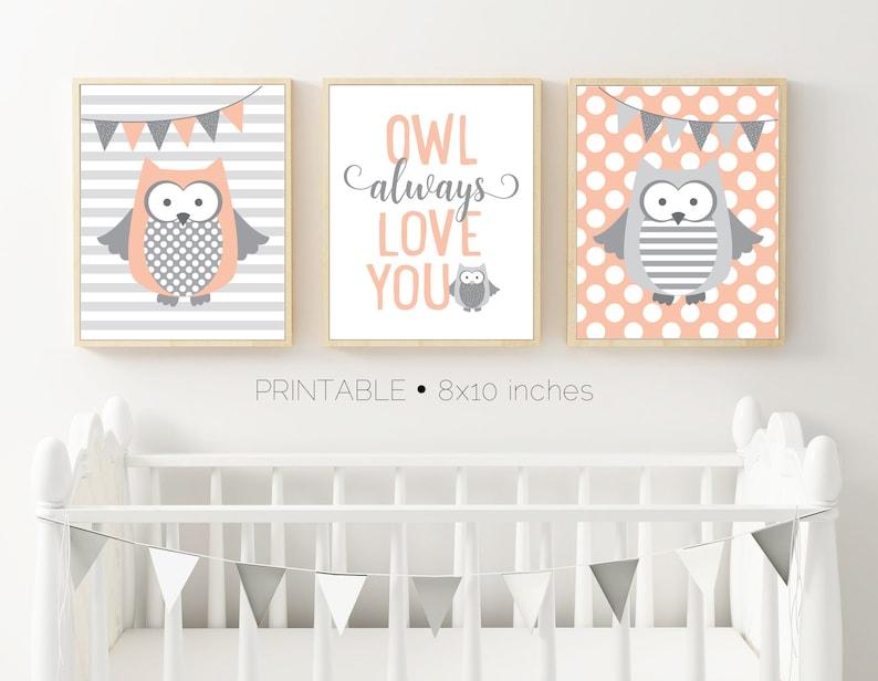 9f9c7df6d4e6a Owl Wall Art, Coral and Gray, Set of Three, Owl Nursery Decor, Kids Wall  Art, Girls Nursery Art, Boys Nursery Art, Coral and Gray Nursery