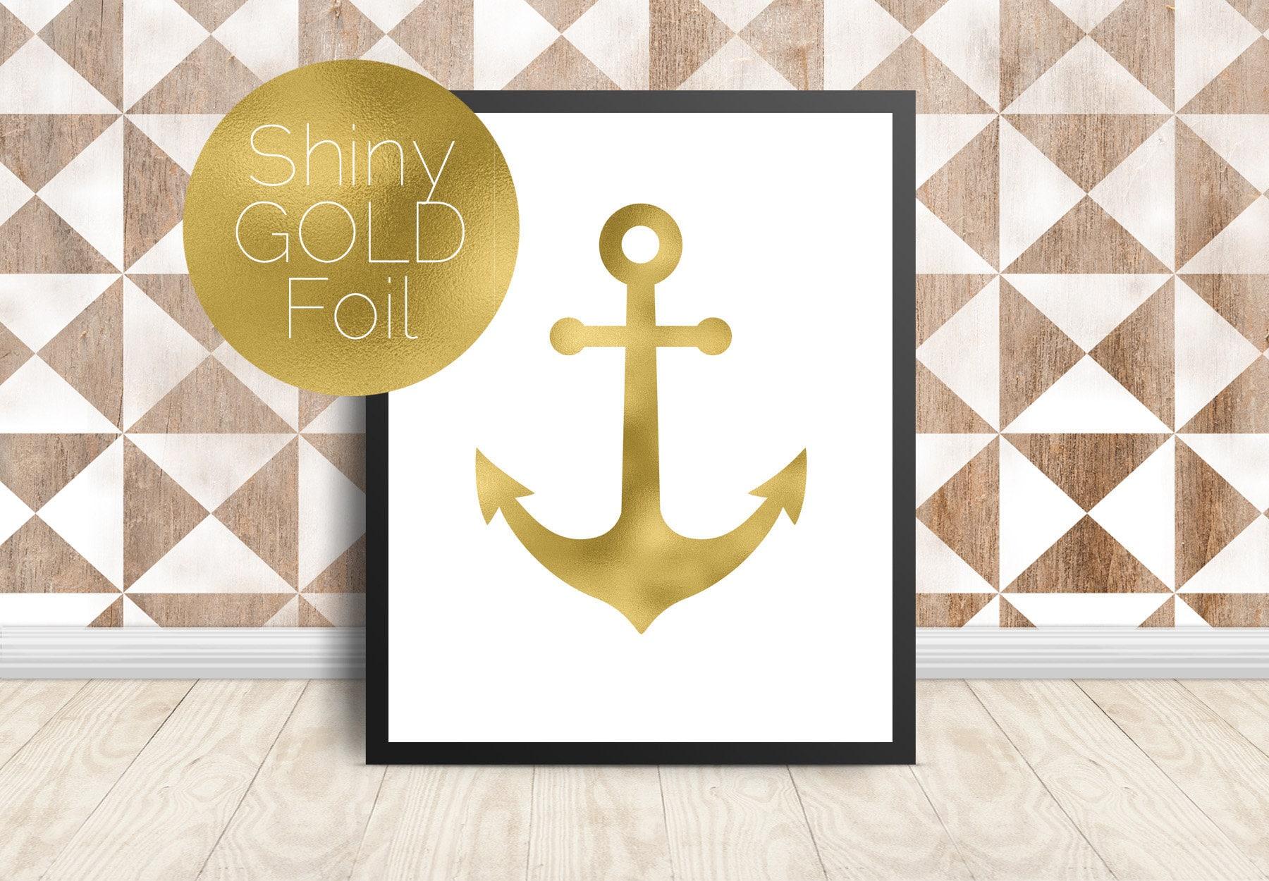 Anchor Wall Art Gold Foil Print Gold Anchor Wall Art   Etsy