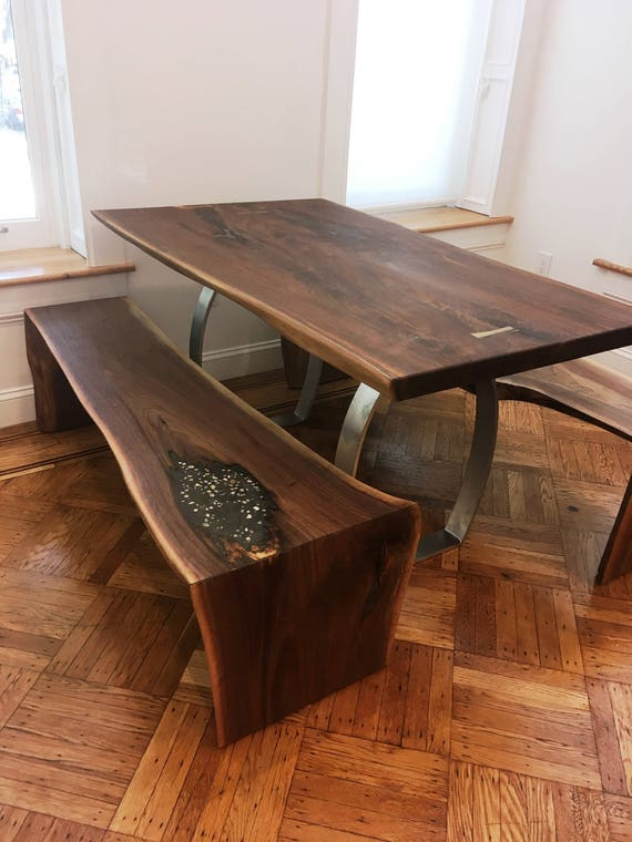 Waterfall walnut live edge kitchen dining set - Table and benches