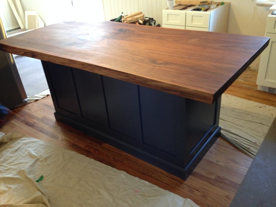 Live Edge Bookmatched Walnut Kitchen Island Top Etsy