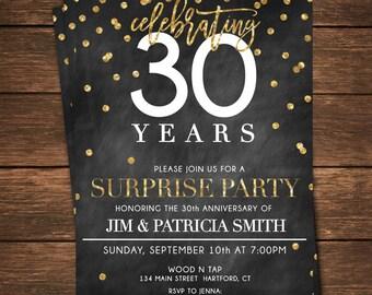 30th anniversary invitations etsy