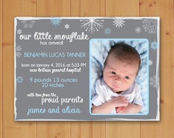 Birth Announcement, Our Little Snowflake has Arrived Birth Announcement, Our little Snowflake, Birth Announcement, Baby Birth Announcement
