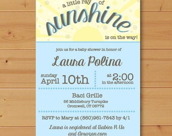 A little Ray of Sunshine is on the way, Ray of Sunshine Baby Shower invitation, Ray of Sunshine Invitation, A little Ray of Sunshine