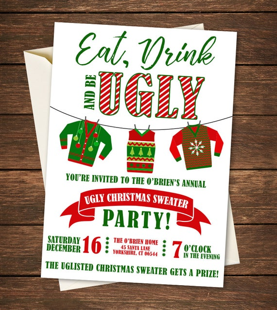 ugly sweater party invitations dessert party image ugly sweater party invitation etsy