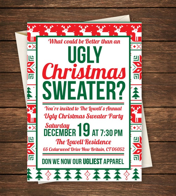 Ugly Sweater Party Invitation Ugly Sweater Invitation Ugly Etsy