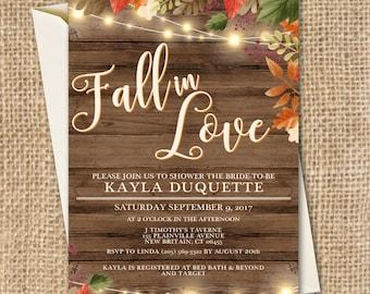 Fall in Love Bridal Shower Invitation, Fall in Love, Fall in Love Invitation, Bridal Shower Invitation, She's Falling in Love, Fall Bridal