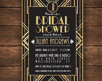 Great Gatsby Bridal Shower Invitation, Bridal Shower Invitation,Great Gatsby Bridal Shower, Gatsby Bridal Shower, Gatsby Invitation
