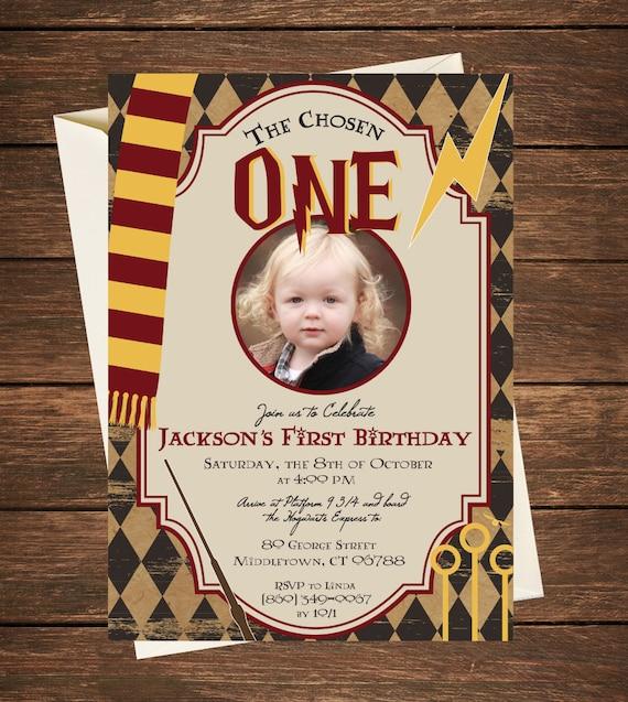 Harry Potter Birthday Invitation Harry Potter First Birthday Etsy
