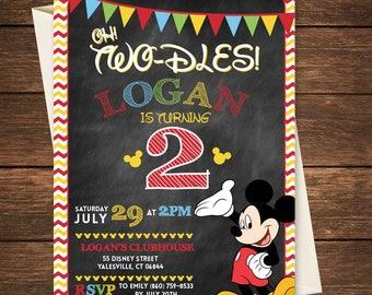 Mickey Birthday Invitation, Mickey Birthday, Two-dles Invitation, Oh Two-dles, Oh Two-dles Invitation, Mickey 2nd Birthday, Oh Twodles