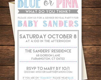 Gender Reveal Invitation, Blue or Pink Invitation, Gender Reveal Party, Boy or Girl invitation, Gender Reveal,Blue or Pink what do you think