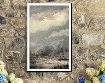 Wall Decor Lake Art - Printable watercolor landscape