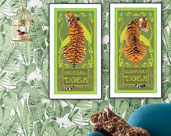 Jungle Art Nouveau Tiger posters - Wildlife Tiger animal art - Sumatran and Bengal Tiger, Wildlife wall art - wildlife poster by artist