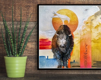 Rustic wall decor Bison and Crow Print, native american art , southwest art, Abstract Modern art , Bison wall decor, Western decor