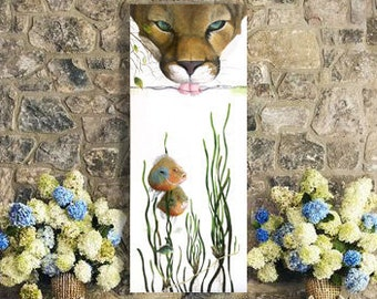 Original Wildlife Painting - Mountain Lion - For sale by artist