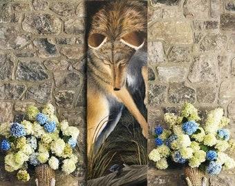 Wildlife wall giclée print Coyote, animal art, wildlife poster, Lodge decor, Contemporary, cottagecore decor, western artwork