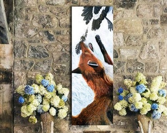 Cottagecore decor, Wildlife Fox Decor, Fox Print, Print by original artist, wildlife decor, Red fox wildlife print, animal Print
