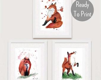 Nursery Woodland Art Printable, Kid friendly Fox Digital Downloads, Set of 3, wildlife artwork, Fox home decor