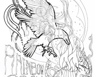 Crow Coloring Page Etsy