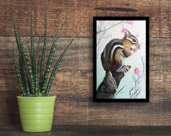 Wildlife poster, Woodland Chipmunk Limited Print / watercolor art print /Hygge Decore
