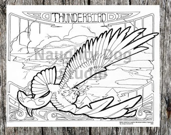Adults and Kids Coloring Page / Thunderbird / Printable  / Downloadable / Line Art Decor / Native american / native american art