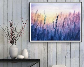 Lavender art printable Wall decor /  watercolor prints / Digital copies /cottagecore poster